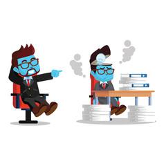 Blue businessman lazy and hard working employee– stock illustration
