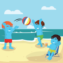 Kids playing at the beach– stock illustration