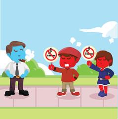 Kids protesting against smoker– stock illustration