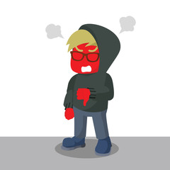Angry red nerd with hoodie– stock illustration