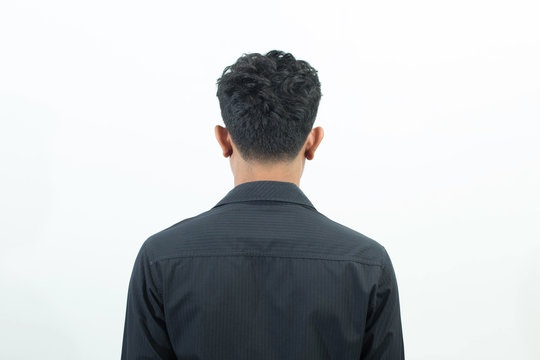 Man back standing isolated on white background