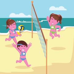 Volleyball match illustration design– stock illustration
