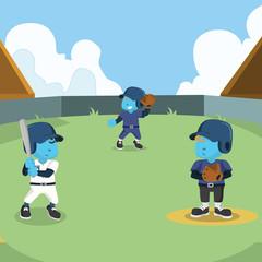 Baseball match illustration design– stock illustration