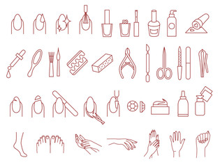 Manicure and pedicure icons vector set