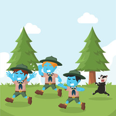 Group of blue boyscout chased by honey badger– stock illustration