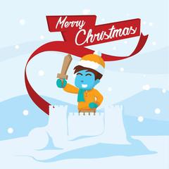 Blue boy on snow castle– stock illustration