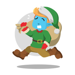 Christmas elf rushing illustration design– stock illustration