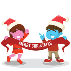 Blue boy and pink girl holding christmas banner– stock illustration