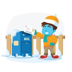 Blue boy sending letter to santa– stock illustration