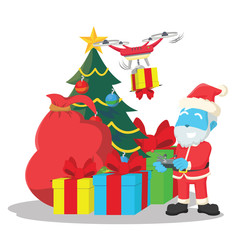 Blue santa using drone to carry christmas presents– stock illustration