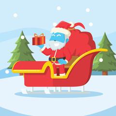 Blue santa on his sleigh– stock illustration