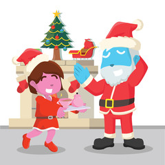 Pink girl giving tea to blue santa– stock illustration