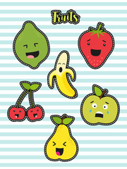 Cute set of fashion patches with cartoon characters of fruits