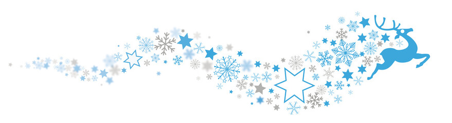 Reindeer Snowflakes Blue Star Dust Header Blurred
