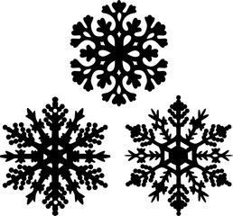 three black snowflakes collection isolated on white