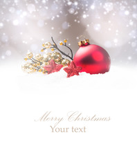 Christmas decoration in snow with free space. Celebration balls and other decoration. Christmas concept