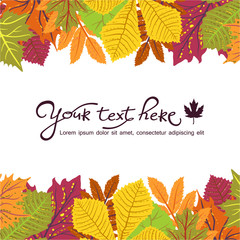 Bright frame with leaves and place for your text. ECO autumn Nature wallpaper. BIO design
