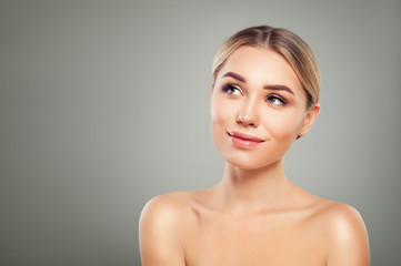 Spa Model Woman with Healthy Skin Looking Up. Skincare Concept