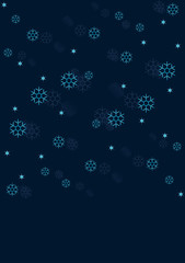Winter background with snowflakes and stars isolated on dark Blue. Vector