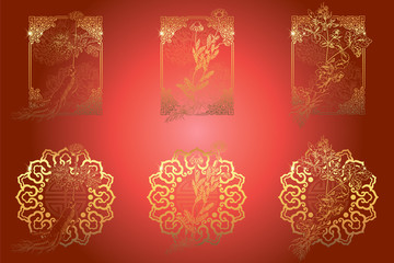 Set of medicina herbs with patterned frames: ginseng, chamomile, celandine. Vector illustration in engraving style, in red and gold.