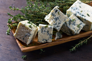 Blue cheese and branches of thyme