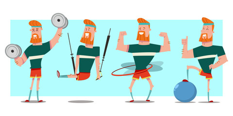 Mаn with beard doing fitness exercises with dumbbells, fit ball, hula hoop and trx training. Cute guy cartoon vector character set isolated on background. Healthy lifestyle and sport illustration.