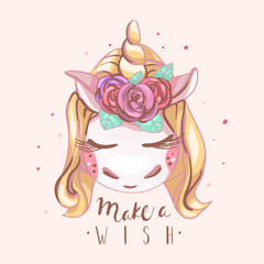 Cute unicorn with blond hair and golden horn with beautiful roses flowers closed eyes (dreaming, sleeping) with Make a Wish lettering. Kids, nursery print, poster