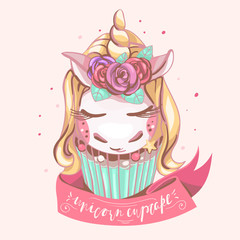Cute unicorn cupcake. Beautiful, magic background with dreaming unicorn with golden horn, roses (flowers), mint color cake, pink ribbon. Nursery print, t-shirt, poster