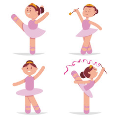 Cute ballerina dancing cartoon vector set. Little princess character isolated on white background.