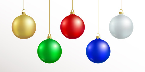 Christmas decoration. Red, blue, silver, gold, green color xmas ball hanging