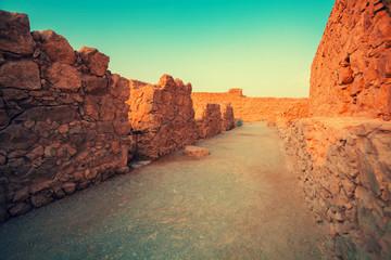 Masada fortress. Ruins of King Herod's palace in Judaean Desert.