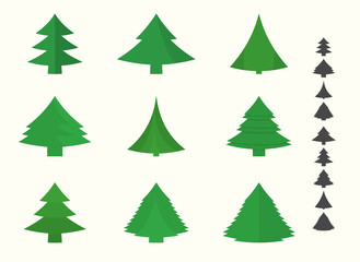 Set of christmas and new year tree icons
