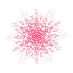 Valentines Day romantic mandala on white isolated background. Love poster.