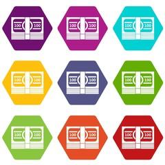 Bundle of money icon set color hexahedron