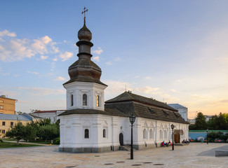 Refectory of St John the Divine with wooden tiled roof. St Michael's Golden Domed Monastery complex in Kiev, Ukraine