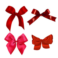 Set of Realistic Red Bows. Vector Illustration of Holiday Decoration