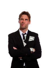 Photo of man in business suit with money in pockets