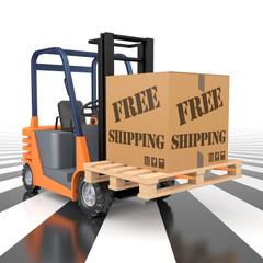 Forklift with Free Shipping Cargo Box