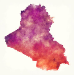 Iraq watercolor map in front of a white background