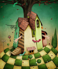 Conceptual illustration for  fairy tale Wonderland house with  garden and  girl.