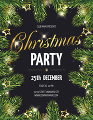 Сhristmas party poster with fir branches. Vector illustration eps 10