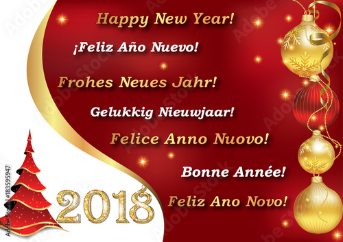 photo relating to Merry Christmas in Different Languages Printable titled Greeting card for Fresh new Calendar year with information within just a lot of languages