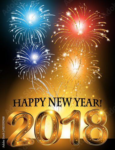 happy new year 2018 greeting card for the holiday season with fireworks background