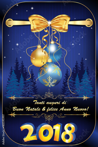merry christmas and happy new year 2018 written in italian greeting card for the