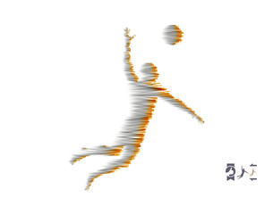 Volleyball athlete in action. Sport symbol. Vector illustration.