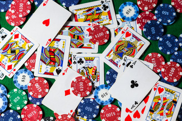 Background poker cards with chips