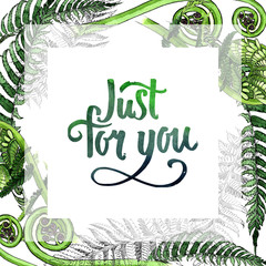 Tropical fern leaves frame in a watercolor style. Aquarelle wild flower for background, texture, wrapper pattern, frame or border.