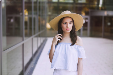 Picture of beautiful young girl wearing hat