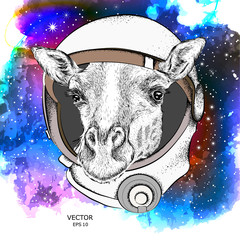 A cartoon giraffe in an astronaut's space suit. Character in space. Vector illustration
