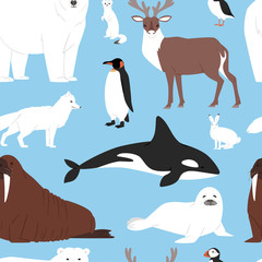 Arctic animals cartoon vector polar bear or penguin character collection with whale reindeer and seal in snowy winter antarctica set seamless pattern background